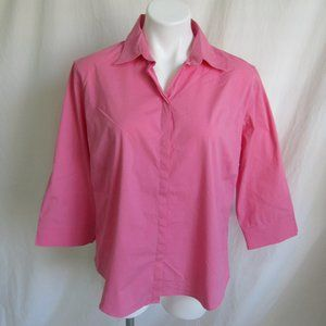 Faconnable Pink Hidden Button Blouse Women's XL